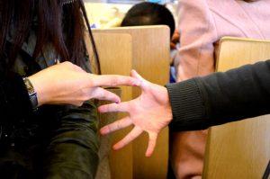 Schere Stein Papier Spiel mit Händen