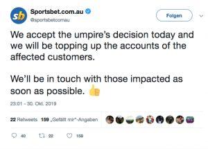Sportsbet Tweet