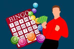 Eine Bingokarte mit Zahlen und Spieler