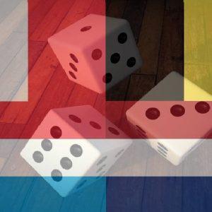 Flaggen von Frankreich, Belgien, Niederkande, Luxemburg mit Würfeln