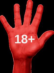 Eine rote Hand mit 18+ Aufschrift