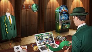 Mr Green Casino, Mann mit Hut, Spielautomat, Laptop