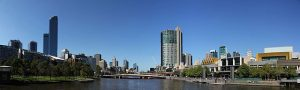 Panorama Hafen Melbourne mit Crown Casino