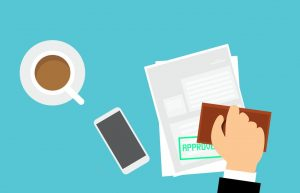 Dokument, Hand, Stempel, Smartphone, Tasse Kaffee
