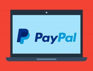 Laptop, PayPal Logo
