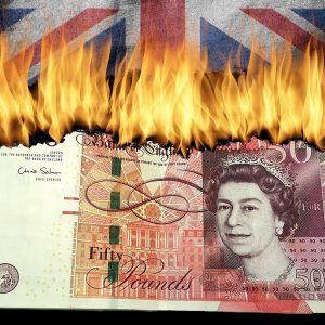 Britische Pfund, Geldschein, Feuer, britisch Fahne