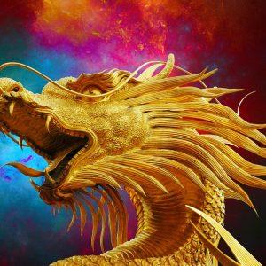 Ein Drache in Gold