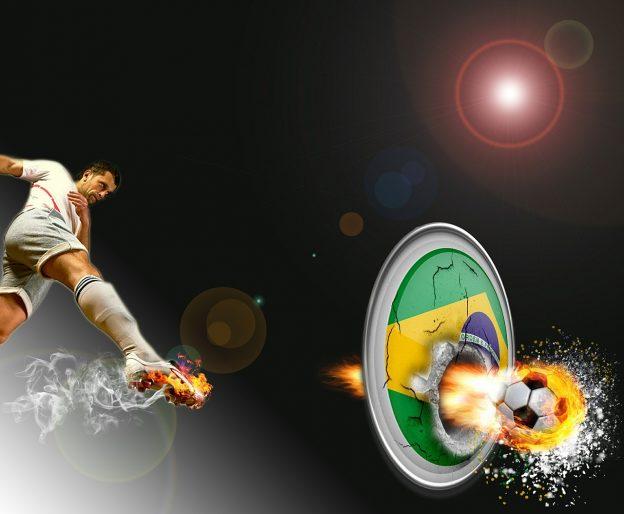 brasilianische Flagge, Fußballer, Fußball, Feuer