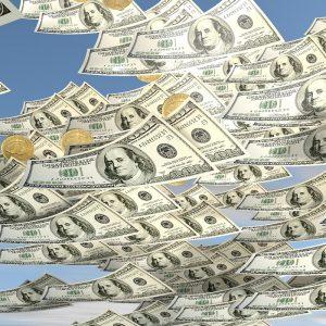 Geldscheine Dollarscheine fallen vom Himmel