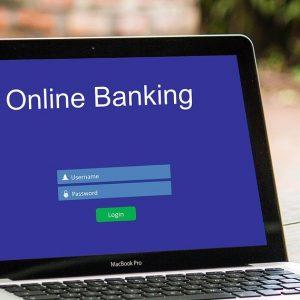 Ein Laptop-Monitor mit Bankanwendung