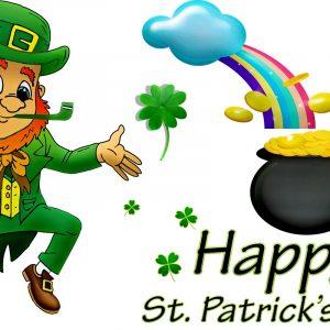 St. Patrick's Day Leprechaun und Goldpott