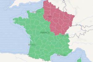 Frankreichkarte Zonen rot und grün