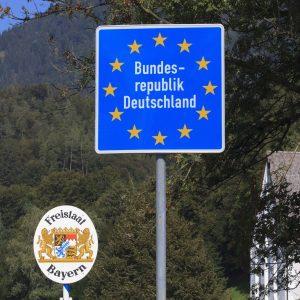 Grenzschild Bundesrepublik Deutschland Freistaat Bayern