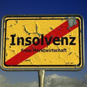 Straßenschild, Insolvenz