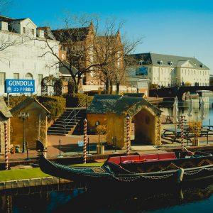 Häuser, Kanal, Gondel, Themenpark Huis Ten Bosch