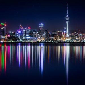 Skyline Auckland bei Nacht