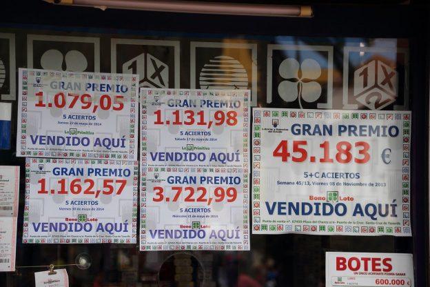 Lotterie Spanien, Schaufenster Lotto Werbung