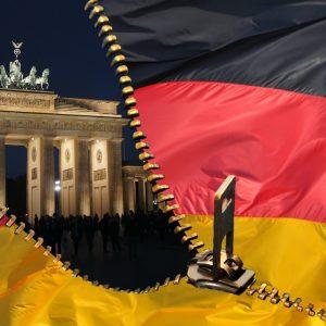 deutsche Fahne, Reißverschluss, Brandenburger Tor