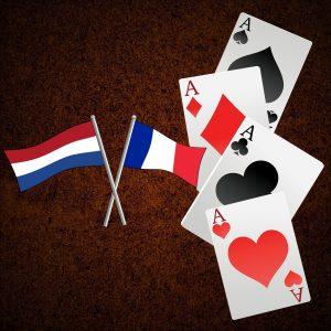 Spielkarten Asse Flagge Frankreich Niederlande