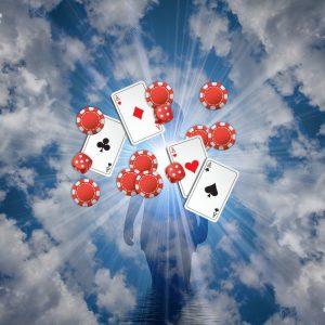 Spielkarten, Chips, Silhouette, Wolken, Licht