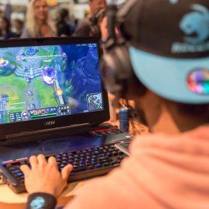 Mensch mit Mütze, Laptop, Computerspiel