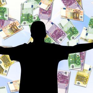 Mann, Silhouette, Geldscheine
