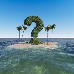 Fragezeichen als Baum Insel im Meer Palmen