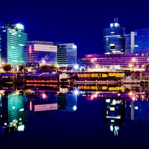 Wien Skyline Gebäude Fluss
