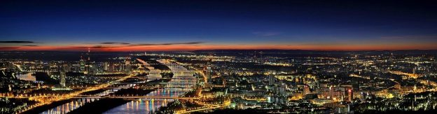 Wien Stadt bei Nacht Panorama