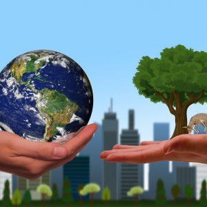 Planet Erde Baum Hände Stadt
