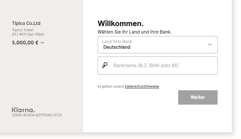 Online-Einzahlungsformular