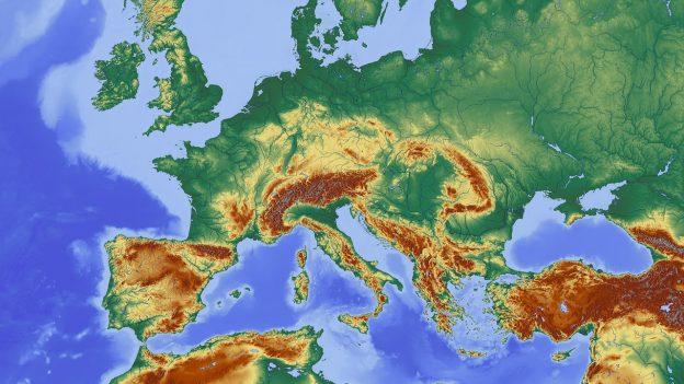 Landkarte Europa Mitteleuropa Sattelitenaufnahme