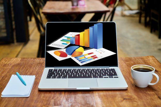 Laptop, Block, Kaffee, Statistiken