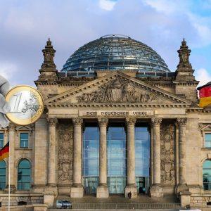 Bundestag, Hand, Euro-Münze