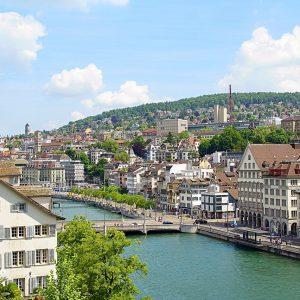 Zürich Stadt Fluss Gebäude Hügel Himmel Wolken