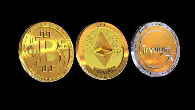 Kryptowährung Bitcoin Ethereum Tryvium Münzen