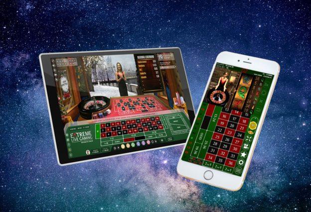 Tablet Smartphone Online Live Casino Weltall