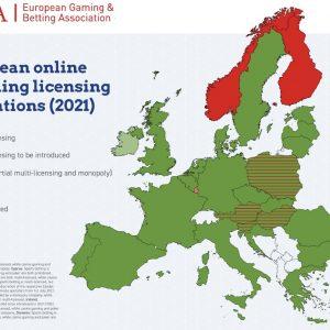 Europakarte Glücksspielregulierung 2021 EGBA