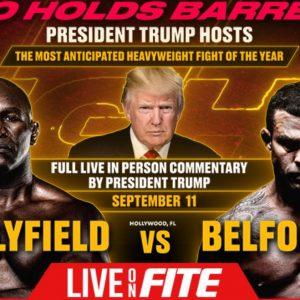 Trump Boxkampf Holyfield Banner