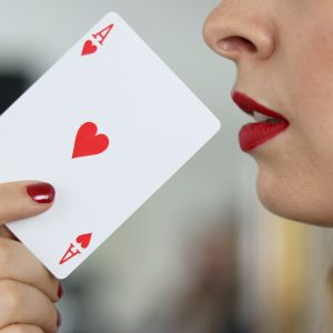 Karte, Hand, Mund, Lippenstift