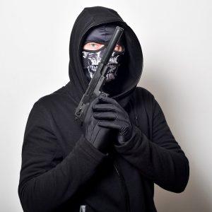 Räuber Pistole Waffe Mann Maske